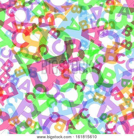 Seamless vector pattern - different letters ABC. Colorful school pattern with transparent font characters for children. Multicolor background for kids.
