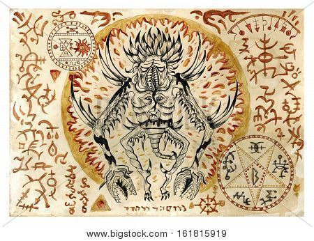 Mystic illustration with evil demon and black magic symbols on old manuscript. Occult and esoteric illustrations. There is no foreign text in the image, all symbols are imaginary and fantasy ones