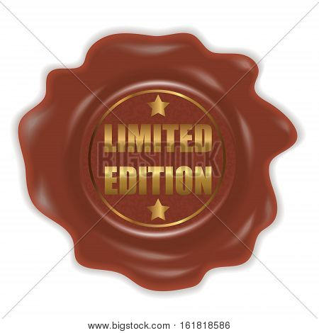Wax seal with the sign of limited edition. Stamp. Gold text. Vector illustration.