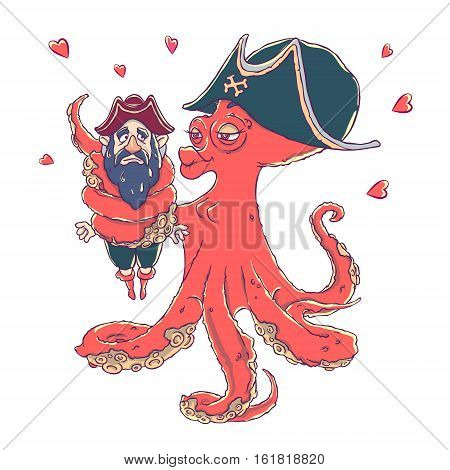 Postcard for Valentine's day. 14 Feb. Be my Valentine. Love the octopus hugs confused pirate. Vector illustration isolated on white. T-shirt printing.