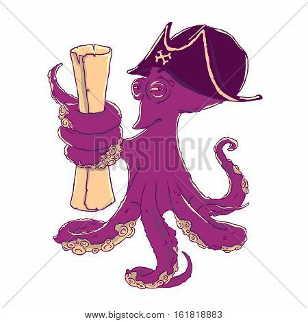 Cunning octopus-pirate in a cocked hat with paper scrolls. Treasure map. Vector illustration isolated on white. T-shirt printing.