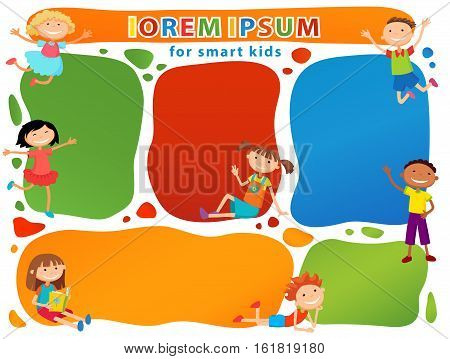 Vector brochure backgrounds with cartoon children. Infographic template design. Courtesy lesson for children rights to the banner advertisement for children illustration