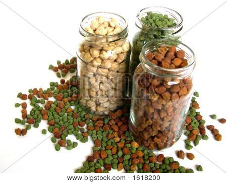 Tricolor Chick Peas In Bottles Spilled 3