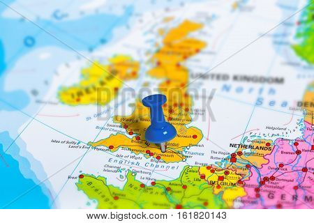 Greenwich in United Kingdom pinned on colorful political map of Europe. Geopolitical school atlas. Tilt shift effect.