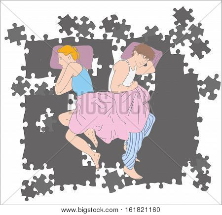 Upset young couple having marital problems or a disagreement lying side by side in bed facing in opposite directions ignoring one another. vector illustration