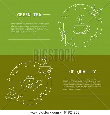 Design elements of tea concept, stock vector illustration. Vector flyers and banners in modern line style, object isolated, white tine line and lorem ipsum on green background.