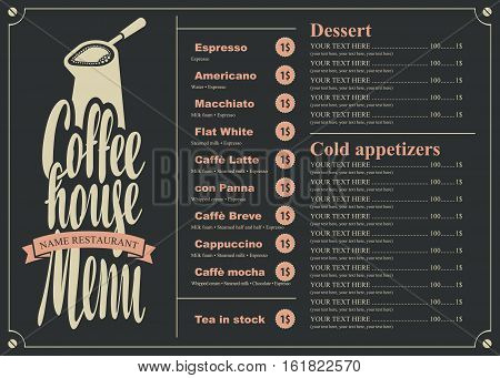 menu with price list for the coffee house with a pots