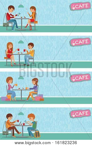 Couples of people in cafe eat, drink and use phone. Templates for flyers and banners. Vector Illustration with men and women at tables on blue background.