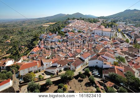 CASTELO DE VIDE, PORTUGAL: View of the Old Town and the surrounding hills from the medieval castle