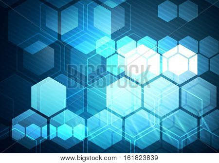 Digital conceptual image hexagon on inclined blue stripes background
