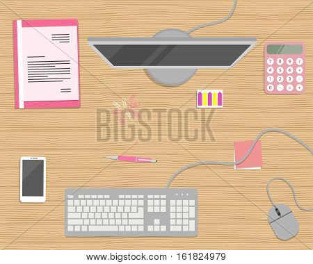 Pink stationery on a wooden background. Top view of a desk. There is a computer, keyboard, mouse, smart phone, folder and other objects in the picture. Flat design vector illustration