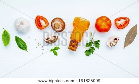 Various Vegetable And Ingredients For Cooking Pasta Menu Sweet Basil ,tomato ,garlic ,extra Virgin O
