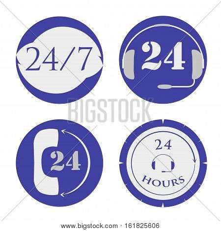 set of open around the clock, 24 hours a day and 7 days icon, eps10