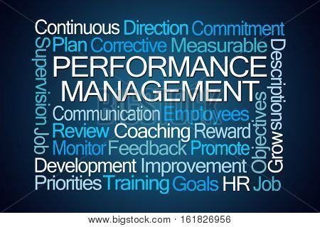 Performance Management Word Cloud on Blue Background