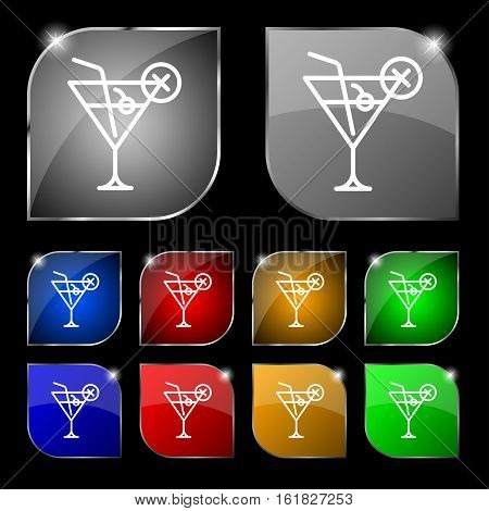 Martini Glass Icon Sign. Set Of Ten Colorful Buttons With Glare. Vector
