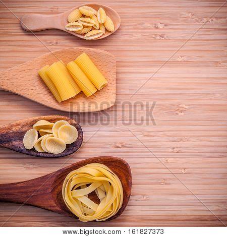 Italian Foods Concept And Menu Design . Various Kind Of Pasta Fettucini ,rigatoni ,rigatoni And Gnoc