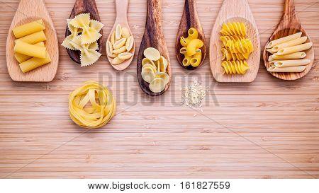 Italian Foods Concept And Menu Design. Various Kind Of Pasta Farfalle, Pasta A Riso, Orecchiette Pug