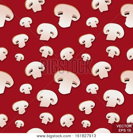 Mushrooms . Vector seamless background . Botany. Cooking . Engraving. Floral pattern Nature Food Forest esp10