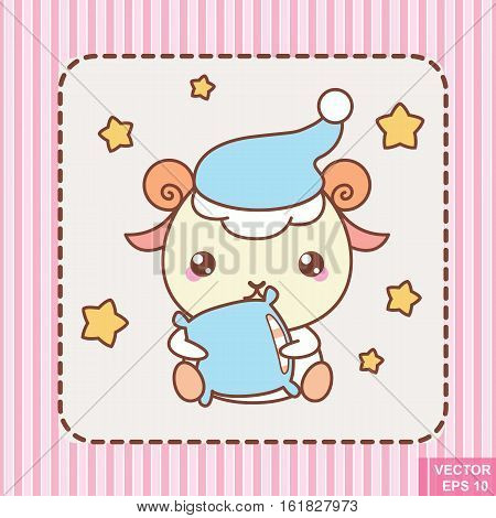 Cute kawaii cartoon sheep in vector. sleep party eps10