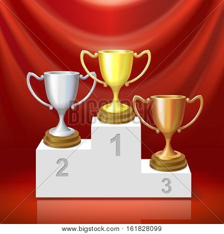 Gold, silver and bronze trophy cup on winners podium on red background Champions elements vector illustration.