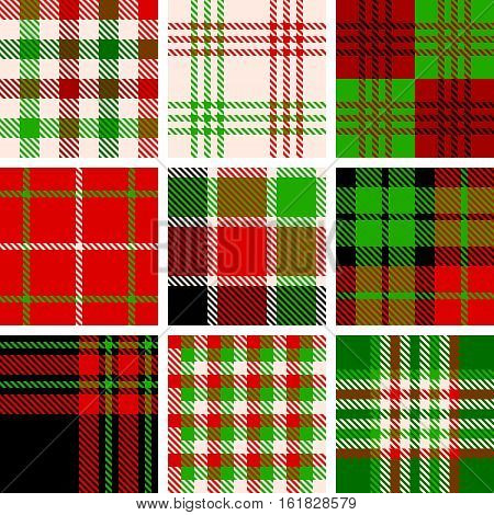 Set of seamless pattern tartan in christmas theme, green and red