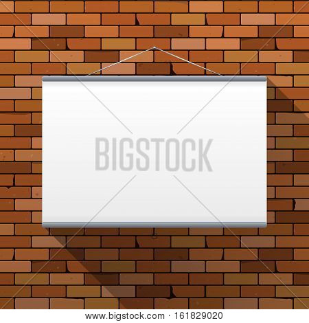 Vector mockup. Projector Screen hanging on a dark red brick wall. Empty blank. Grunge brickwork background textured rough surface. Creative business interior template. Whiteboard for presentations