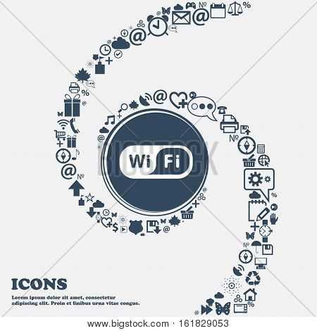 Wireless Network Icon In The Center. Around The Many Beautiful Symbols Twisted In A Spiral. You Can