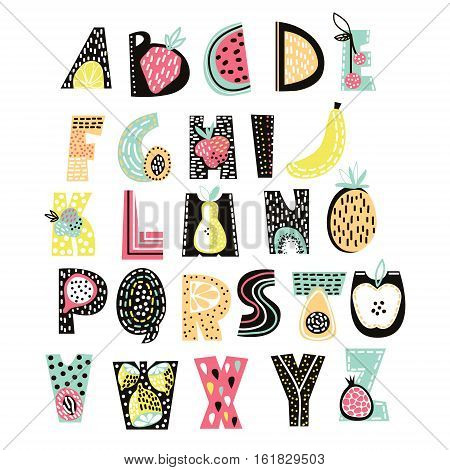 Abstract Alphabet fruit. Creative Kids font. Great for education home decor. It Be used for funny t-shirt quotes and kids fashion prints. Vector Illustration