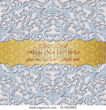 Luxury New Year gold mosaic card. Classic Baroque ornamented Invitation. Vintage decor Vector illustration. Serenity color