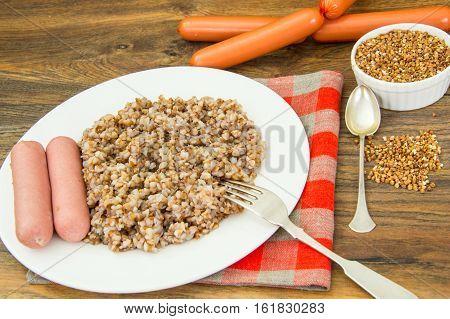 Buckwheat wit Sausage Diet Food Studio Photo