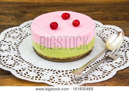 Raspberry Cheesecake Pistachio Nut on Sand-Based Studio Photo