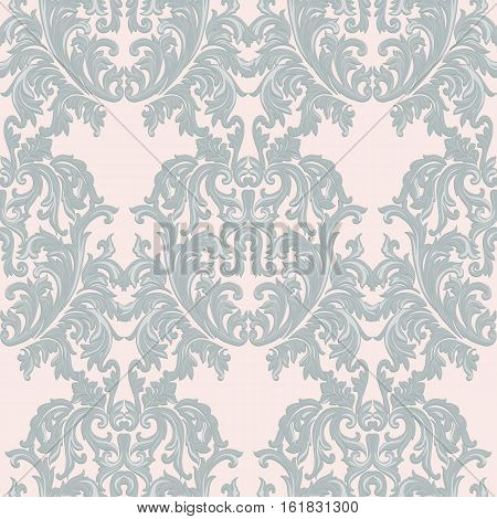 Vintage Baroque damask pattern Imperial style. Vector decor background. Luxury Classic ornament. Royal Victorian texture for wallpapers, textile, fabric. Beige color