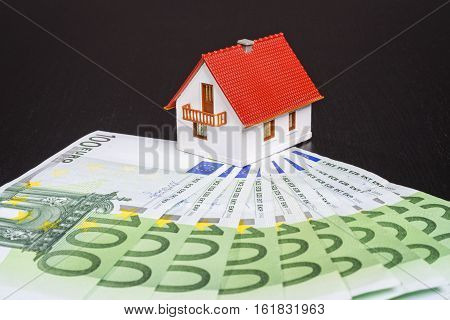 A house is surrounded by many euro banknotes