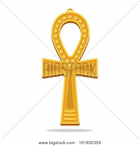 Golden ankh egyptian cross. Life giving object considered as immortality symbol. Eternal life, mythology concept. Antique religious icon. Decorative pendant. Spiritual amulet. Vector illustration