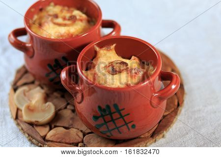 Julienne In A Pot, Meat In A Pot, Food In A Pot Baked In An Oven, Mushrooms, Roast, The Baked Cheese