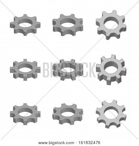 Gear icon set in 3d style. Vector illustration