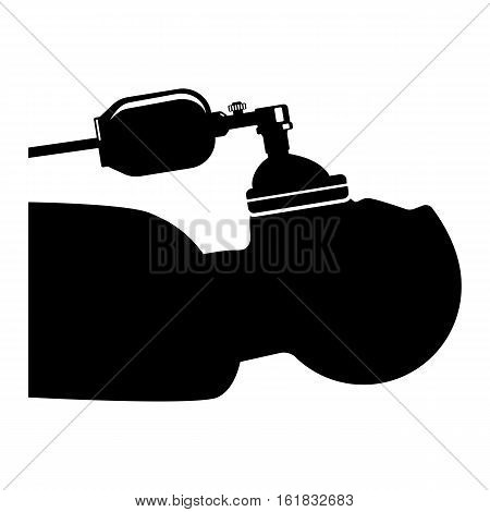 Anesthesia icon health care sign symbol. Man in anesthesia mask silhouette isolated on white. Person under anesthesia. Unconscious male breath oxygen during surgery operation. Vector illustration