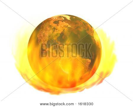 Burning Earth, Isolated On White