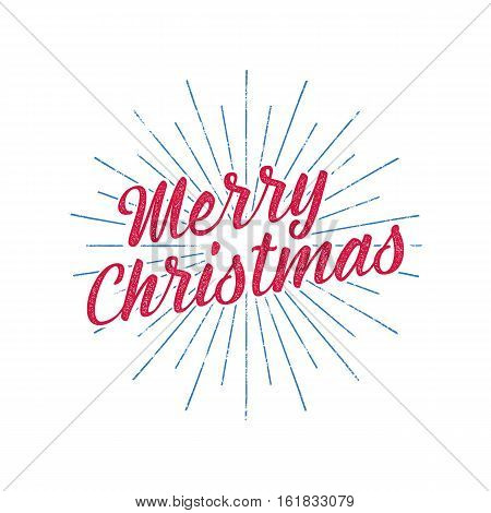 Merry Christmas typography label. Retro christmas photo overlay, badge. Vector holiday lettering illustration. Xmas greeting sign isolated. Rustic style. Stock holiday illustration.