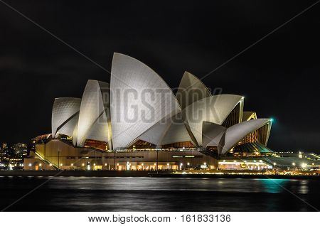 SYDNEY, AUSTRALIA - AUGUST 30, 2012: The illuminated building of the Opera House in Sydney Australia