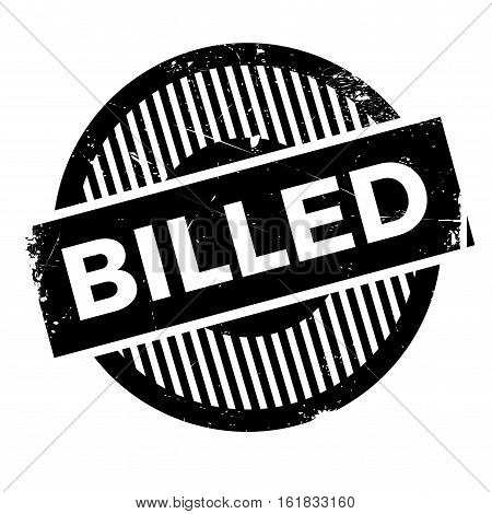 Billed rubber stamp. Grunge design with dust scratches. Effects can be easily removed for a clean, crisp look. Color is easily changed.