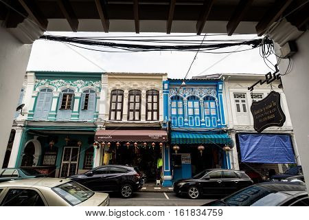 Phuket, Thailand - December 16, 2016 : Chino Portuguese Style Building In Phuket, Thailand