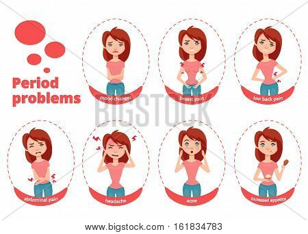 Woman periond problems vector illustration. Young and cute girl shows different symptoms and cases during menstruation.