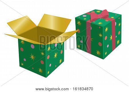 Green Gift Box. Red Bow. Vector