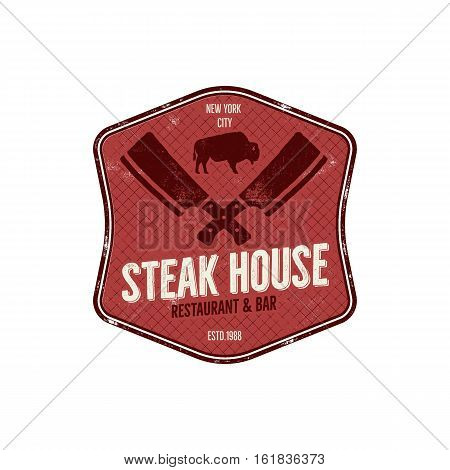 Steak House vintage Label. Typography letterpress design. Vector steak house retro logo. Included bbq grill symbols for customizing steak house badge.Colorful insignia isolated.