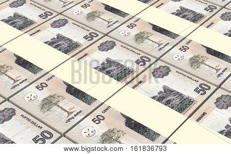 Surinamese dollars bills stacks background. 3D illustration.