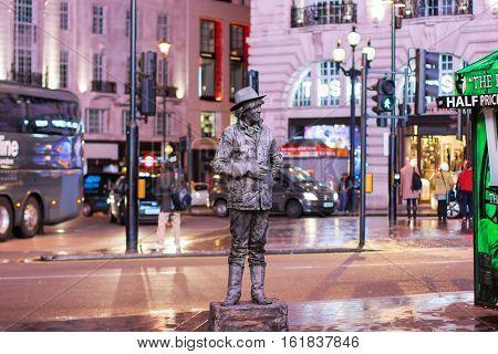 London - November 17, 2016: A Living Statue Street Entertainer