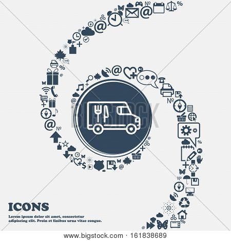 Food Truck Icon In The Center. Around The Many Beautiful Symbols Twisted In A Spiral. You Can Use Ea