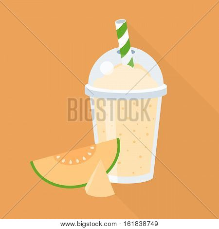 Cantaloupe smoothie in plastic glass with piece of melon,  flat design with long shadow