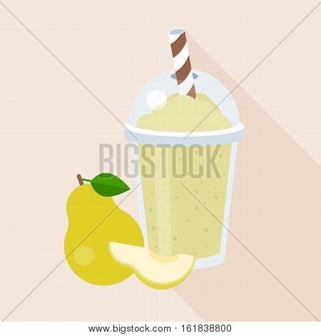 Pear smoothie in plastic glass with ripe fruits,  flat design with long shadow